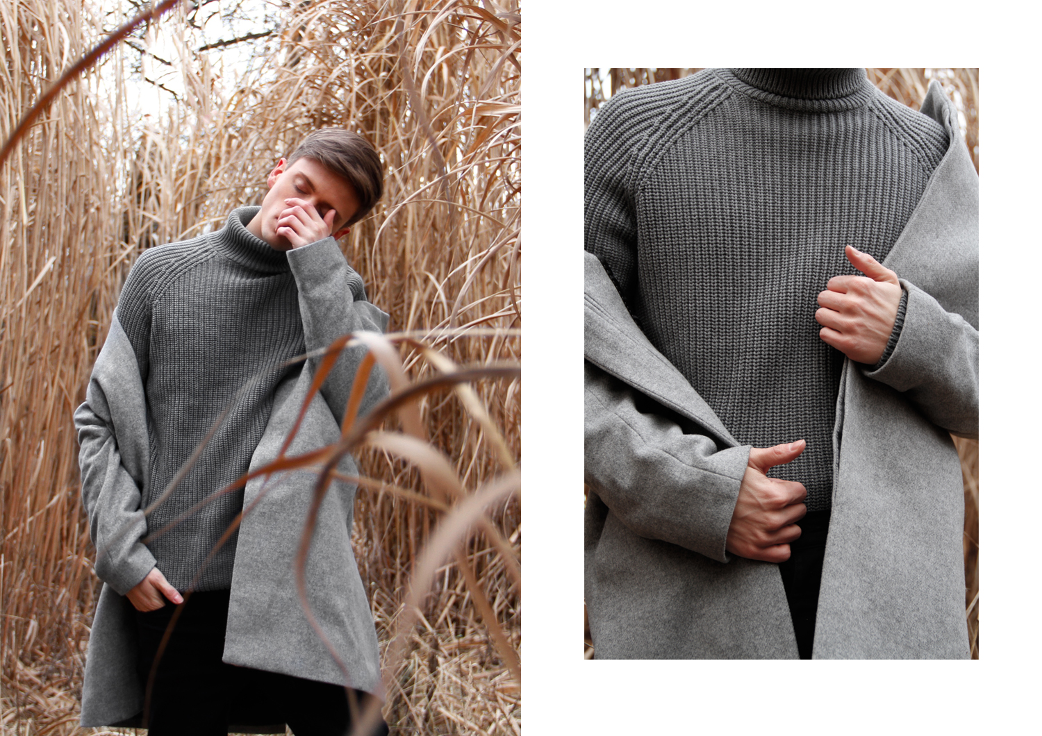 GeorgMallner_Fashion_Outift_Look_Knitted_Turtleneck_Pullover_Coat_Cashmere_50ShadesOFgrey_Fields_editorial_Cornfield_Menswear_Zara_